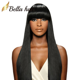 Wholesale Virgin Human Hair Half Wigs - Silky Straight Full Lace Wig 100% Indian Remy Human Hair Wigs with Cute Neat Bang Lace Wigs Free Shipping Bella Hair
