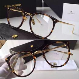 papillons encadrés pas cher Promotion 2016 New Linda Farrow Haute Qualité Marque oculos LFL251 18 K or placage occhiali lunettes optiques femmes lunettes de sol lunette de soleil