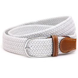 Wholesale Braid Belts - Smallwholesale Fashion men and women long stretch canvas belt unisex causal elastic braided dress belts pure color knitted gold belt