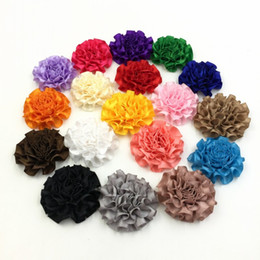 Wholesale Felt Flowers Hair Bows - 2inch Satin Ruffled Flower DIY Crafting Baby Girl Hair Accessory Without Clip Felt Back 540pcs lot