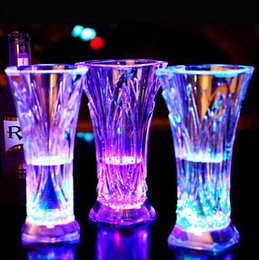 Wholesale Lights Wine Glasses - LED Flashing Glowing Water Cup Liquid Activated Light Up Wine Drink Cup Mug Party Bar Cups OOA3585