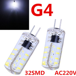 Wholesale Mini Candle Light Bulb - G4 3014 32 SMD LED Lamps Corn Bulbs Light AC 110V 220V Super Bright Mini Candle Crystal Chandelier lighting