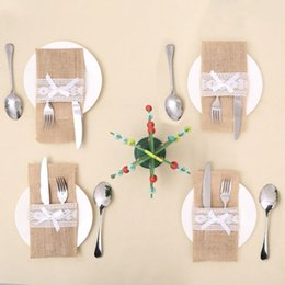 Wholesale Bamboo Fork Set - Wholesale- Christmas Tableware Holder Silverware Holder Pockets Set Knife and Fork Bags Table Place Decoration Mats