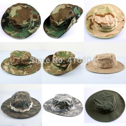 Wholesale Woodland Camo Outdoor Cap - Wholesale-Woman Men's Military Army Military Boonie Bush Woodland Sun Bonnet Camo Outdoor Cap for Fishing