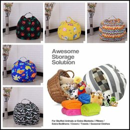 Wholesale Large Beans - 22 Colors 18 inches Storage Bean Bags Kids Bedroom Stuffed Animal Dolls bag Plush Toys Large Capacity Spherical Totes CCA8330 20pcs