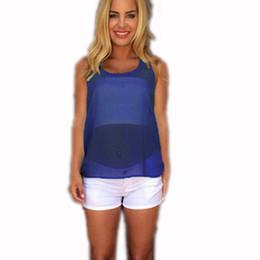 Encomendar tops on-line-Novas Mulheres Da Moda Chiffon Colete Blusas Femininas 2016 de Volta Arco Sheer Blusa Sem Mangas Em Torno Do Pescoço Regata Camisole Camiseta ordem $ 18no trac