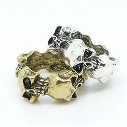 Wholesale mysterious rings - Fashion Alloy Rings Skull Shape Skeleton Mysterious Style Hot Sale Gold And Silver Two Type Free shipping