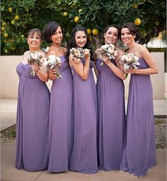 Wholesale Simple Elegant Formal Gowns - Elegant Chiffon Long Bridesmaid Dresses Sweetheart A-Line Zipper Back with Pleats Floor-Length Simple Formal Bridesmaid Evening Gowns