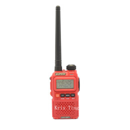 Wholesale Two Way Radio Earpieces - Wholesale-2015 New Red BaoFeng UV-3R+ Plus Walkie Talkie 136-174  400-470Mhz Two Way Radio - free shipping+earpiece