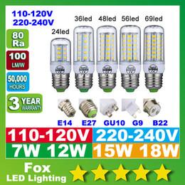 SMD5730 E27 GU10 B22 E14 G9 lâmpada LED 7W 12W 15W 18W 360 ângulo de Lâmpada LED SMD LED de milho luz 220V 110V de