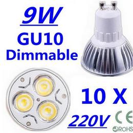 Wholesale Wholesale Pure Led Bulbs - 10X High power CREE GU10 3x3W 9W 110V 220V Dimmable Light lamp Bulb LED Downlight Led Bulb Warm Pure Cool White