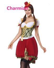 Gartenarbeit hüte frauen online-Großhandels-Erwachsenes Bier-Garten-Mädchen-Oktoberfest-Kostüm Cosplay Partei-Fantasien Karneval Halloween-Kostüme für Frauen Schließt Kleid und Hut mit ein
