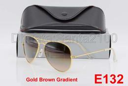 Wholesale Glass For Lighting - 1pair Designer Classic Pilot Gradient Sunglasses For Man Woman Metal Sun Glasses Eyewear Gold Light Brown 58mm Glass Lenses With Box Case