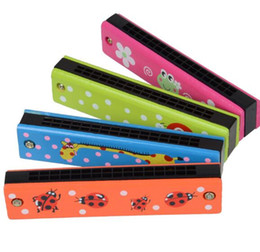 Wholesale Toy Harmonicas - 13*2.2*2.8cm Noise Mak Colorful Educational Musical Wooden Painted Harmonica Toy for Kids Children Gift Kid high quality YH1084