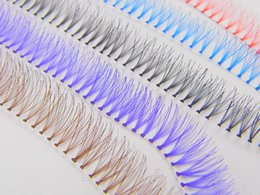 Wholesale Blue Extensions - Wholesale 10 Lines 12mm Colorful Individual Eyelash Extension Natural Long Flare Blue Red False Eyelashes Makeup Tool Freeshipping