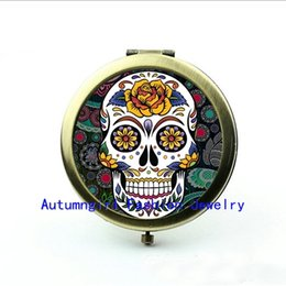 Wholesale Metal Antique Pocket Mirror - New Arrival Sugar Skull Compact Mirror Antique Pocket Mirrors Gifts Cosmetic Mirror --00271-2