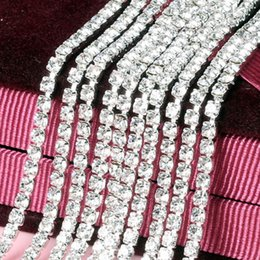 Wholesale Close Trimmer - 1Row 5Yard 3mm ss12 Close Claw Chains Rhinestone Cup Chain Rhinestone Silver Base Trimming for DIY Garment Accessories ZZ281C