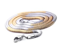 Wholesale 6mm Stainless Snake Chain - Hotsale Men Women's Best Gift 6mm 20.6'' Unisex Jewelry Stainless Steel Silver Gold 2 Tone Flat Snake chain Necklace Charm