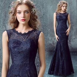 Wholesale Red Satin Overlay - Vestido De Festa Longo 2016 Navy Blue Mermaid Evening Dresses Sheer Jewel Lace Overlay Satin Floor Length Prom Formal Gown Mother Of Bride