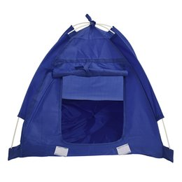 Wholesale Fiberglass Houses - Wholesale- Pet Kitten Cat Puppy Dog Mini Nylon Camp Tent Bed Play House Blue-S