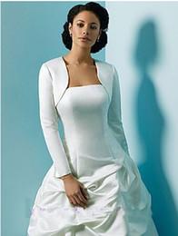 Wholesale Cheap Black Satin Bolero Jacket - Bridal Bolero Mini Wedding Jacket Bridal Taffeta Wedding Accessories Hot Sale Long Sleeves Cheap New White Beige Elegant