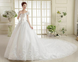 Wholesale Gown Dresses Shrug - Princess Wedding Dresses 2016 Ball Gown Tulle Crystal Beads Sweep Train Plus Size Bridal Gowns with Shrug Custom Made Wedding Dresses