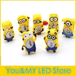 Wholesale Despicable 3d Eyes - 3D Eye Despicable Me slap watch minion Precious watches Milk Dad Children Watches Slap Snap On Silicone Quartz Wrist Watch 100pcs