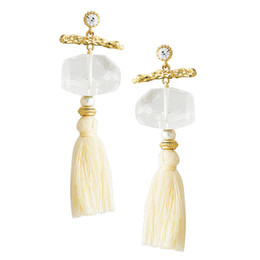 Wholesale Original Gold Earrings - High-grade creative popularity Long Tassel Stud Earrings Natural Crystal Pearl Stud Earrings Jewelry Women Girls Beauty Gift Original Design