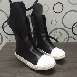 Wholesale Motorcycle Boots Zipper - real picture Genuine Leather high top owen classical high top zipper punk Hip-hop martin Boots