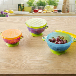 Wholesale Baby Children Tableware - Stay Put Suction Bowl Feeding Children Bowl with Suction Bowl Baby Food Container Slip-resistant Children's Tableware 3pcs lot OOA3419