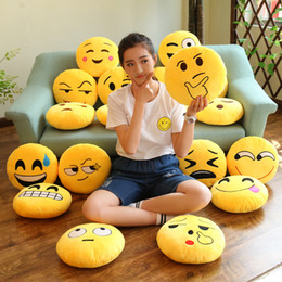 Wholesale Face Cotton Rounds - Smiling Face Back Cushion Children Plush Toy For Cartoon Emoji Hand Warmer Pillow Many Styles Yellow 5 5sw C R
