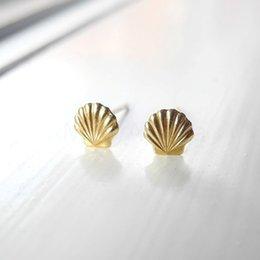 Wholesale Mermaid Stud Earrings - 10Pair Gold Silver Sea Clam Shell Earrings Seashell Stud Earrings Beach Conch Earrings Nautical Ariel Mermaid Studs Jewelry