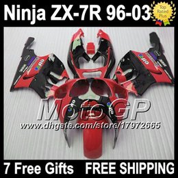 Wholesale Custom Fairings For Zx7r - red black 7gifts Fairing For KAWASAKI NINJA ZX7R 96-03 1996 1997 1998 2003 ZX 7R ZX-7R G1441 glossy red 1999 2000 2001 2002 Custom body