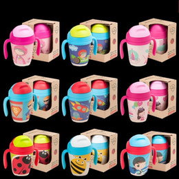 Wholesale Healthy Hands - Children Bamboo Fiber Suction Cup With Straw Safe Healthy Water Bottles Cartoon Pattern Removable Kettle Hot Sale 30ae B R