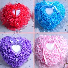 Wholesale Wholesale Ring Pillow - White Pink Red Purple Blue Crystal Pearl Crystal Organza Satin Lace Bearer Ring Pillow Flower Rose Pillows Bridal Beaded Wedding Favors Box