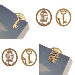 Wholesale Cute Metal Bookmark - Wholesale- 2Pcs Lace Cutout Gold Metal Cute Students Page Clip Bookmarks for Reading Gift Brand New