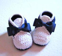 Wholesale Cheap Tuxedos Wholesale - 2015 Classic Tuxedo Style Crochet Cotton Baby Booties -- 9 10 11cm, handmade toddler shoes,knit cheap shoe10pairs lots 0-12M cotton