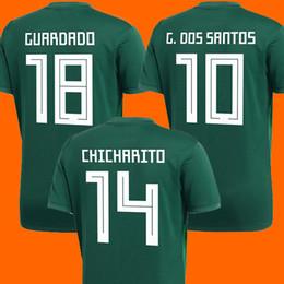 Wholesale G L - Thailand Camisa Mexico soccer jersey 2018 CHICHARITO R MARQUEZ G DOS SANTOS O PERALTA world cup football shirt jersey camisetas de futbol