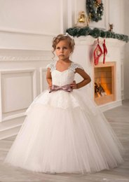 Wholesale Cute Baby Girl Christening Dresses - 2016 White Ivory Cute Off Shoulder Lace Sash Ball Gown Net Baby Girl Birthday Party Christmas Pageant Dresses Children Flower Girl Gowns