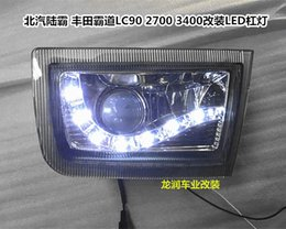 Wholesale Toyota Fog - 1998-2002 Toyota Prado land cruiser LC90 2700 3400 led drl daytime running light with fog lamp and projector len top quality