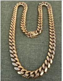 Wholesale Diamonds 14k Gold - 14mm Men Cuban Miami Link Chain 18k Gold Plated 270 Grams HEAVY