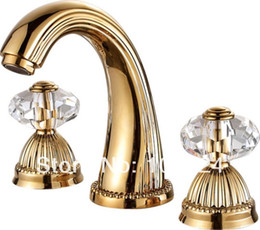 Wholesale Gold Plate Bathroom Mixer Tap - Free shipping PVD GOLD WIDESPREAD LAVATORY BATHROOM SINK FAUCET CRYSTAL HANDLES mixer tap