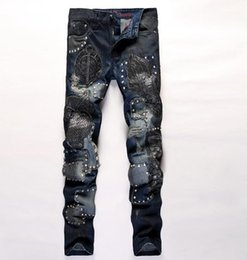 Wholesale Owl Flying - Men's Personality Owl Embroidery Ripped Holes Jeans Distrressed Patchwork Washed Straight Biker Motorcycle Denim Hip Hop Pants