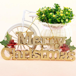 Wholesale Hanging Glass Door - Merry Christmas decorations English letters plate Merry christmas hanging rope shop hanging ornaments glass door decorations [SKU:C122]