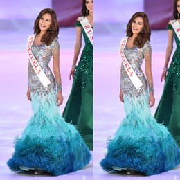 Wholesale Mermaids World - 2014 Miss World Pageant Dress Venezuela Sheer Feather Crystal Beading Long Transparent Sleeve Mermaid Floor-Length Prom Dress Dhyz 01