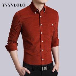 Wholesale Corduroy Shirt Dresses - Wholesale-YVYVLOLO 15 Colors Long-Sleeve Solid Corduroy Brand Men Plus Velvet Thick Warm Shirt Male Business Casual Shirts Plus Size M-5XL