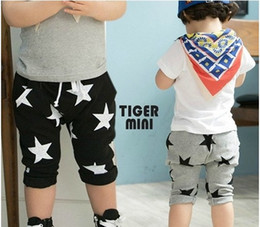 Wholesale Children Boy Pants Pocket - 2016 Summer Hot Sale Baby Children Boys Shorts Stars Printed Harem Pants Kids Clothing Child Clothes Gray Black Casual Pants 5pcs lot L557