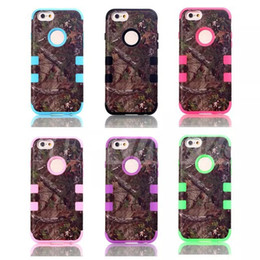 Wholesale Shock Proof Mobile - New Arriver Glass Camo Defender Realtree Hard Back Cases For Iphone 6 6s Waterproof Shock Proof Mobile Phone Hybrid Silicone 6Colors