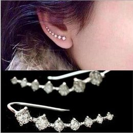 Wholesale Earring Stud Setting - 12pairs lot Wholesales Top Quality 2015 New Trendy Four-Prong Setting 7pc Cubic Zircon Ear Hook Fashion Women Stud Earrings,can mix color