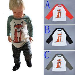 Wholesale Kids T Shirts Cartoon Prints - 5pcs Bobo Choses Children T-shirt Fox Animal Printing Long Sleeve Baby Boys Girls T shirts 2016 Spring Autumn Style Cartoon Kids Clothing